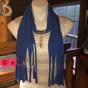 Speciality ROYAL blue scarf w handing jewelry NEW
